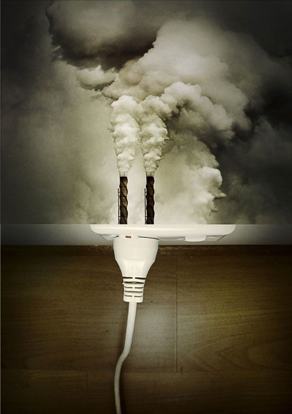 The designer of this image wants the viewer to realise that electricity is not clean because coal is burnt to create it. The designer conveys this through a carefully crafted visual that forces the viewer to come to the conclusion above