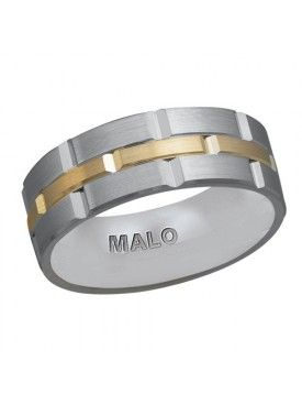 Two-tone satin finish wedding band by Malo. Available in gold and platinum. #weddingband #ring #fashion #groom