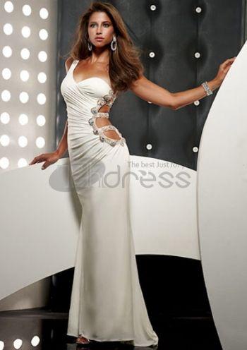 sexy épaule blanc un chiffon perles sexy robes de bal