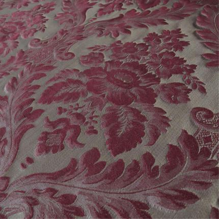 Porchester Bordeaux Large Pattern A Red And Pale Gold Damask Curtain Upholstery Fabric Suitable For All Domestic Furnishings