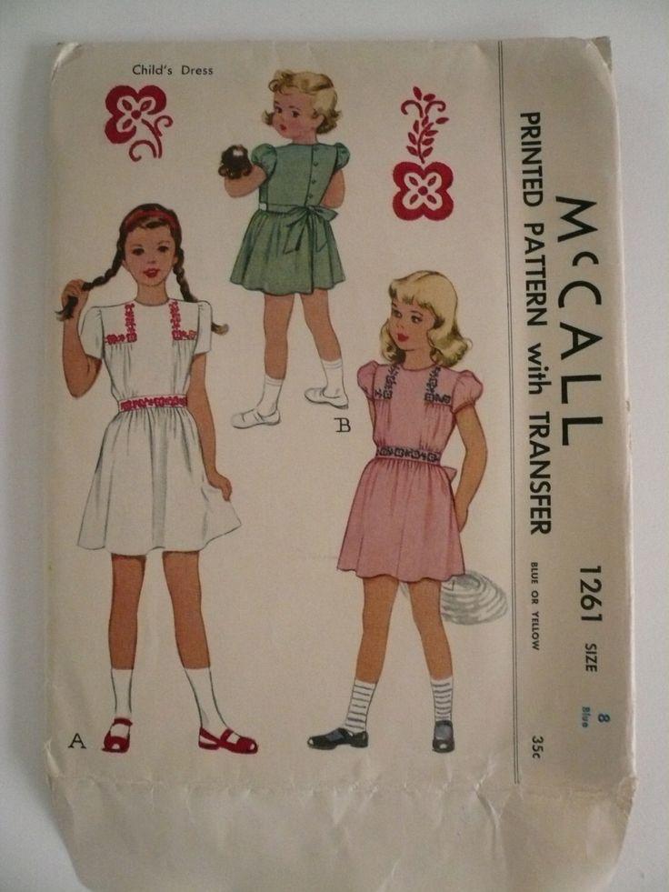 Antico modello McCall 1261 ragazze Abito manica corta con ricamo Transfer dimensione 8 Factory piega di VintagePatternDrawer su Etsy https://www.etsy.com/it/listing/123336458/antico-modello-mccall-1261-ragazze-abito