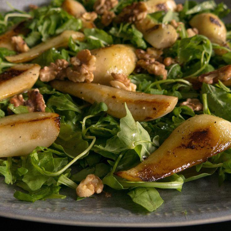 Gluten free, vegan warm pear and walnut salad. Walnut oil vinaigrette.