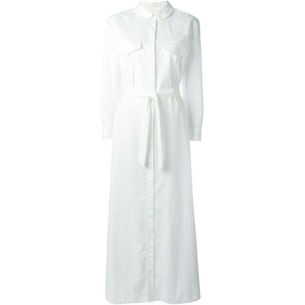 Equipment Maxi Shirt Dress (610 CAD) ❤ liked on Polyvore featuring dresses, white, cotton dress, long shirt dress, maxi shirt dress, white maxi dress and white shirt dress