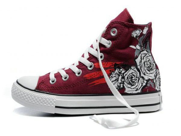 Red Converse All Star Roses Print High Top Canvas Shoes Sale : Converse shoes sale - Converse trainers sale 50.32