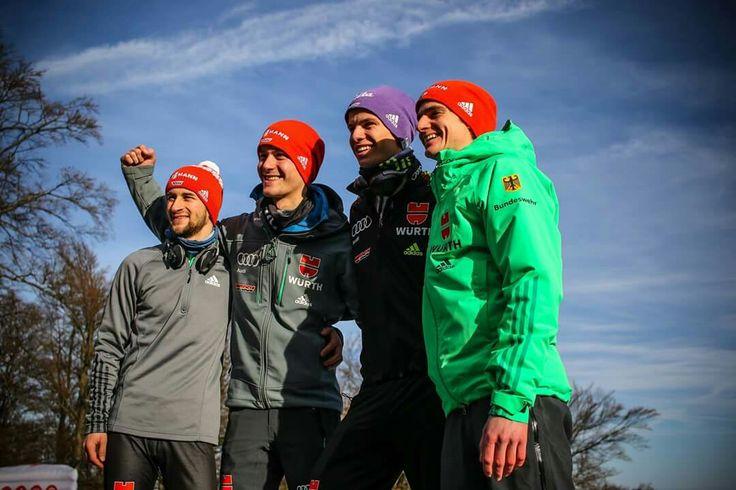 Markus Eisenbichler, Stephan Leyhe, Andreas Wellinger und Richard Freitag