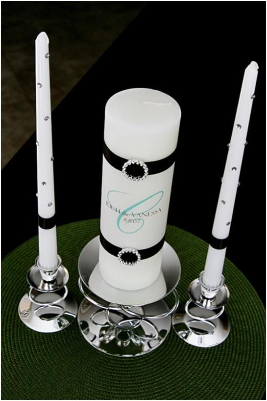 Ok, the jewels are way tacky, but the idea is good. This is just for inspiration anyways. DIY unity candle directions