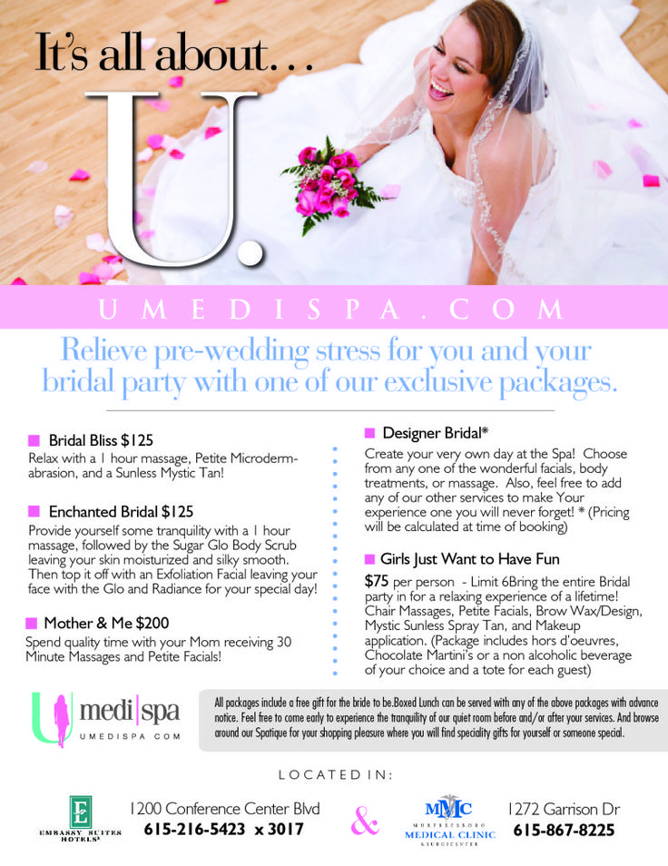 Relieve Pre-Wedding Stress for You and Your Bridal Party With One of Our Exclusive Packages Design your own day at the spa.