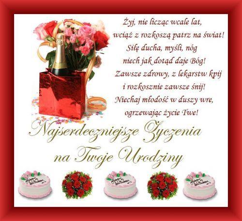 Kartka Pod Tytułem Najserdeczniejsze życzenia Urodzinowe życzenia
