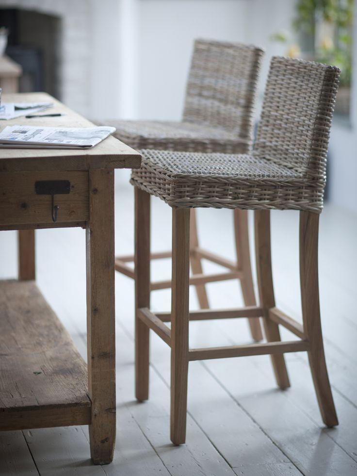 Teak & rattan bar stool