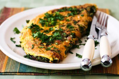 Red Kale and Cheese Omelette for Two; this is a great way to start the day with some veggies.  [from Kalyn's Kitchen] #LowGlycemicBreakfast  #HealthyBreakfast