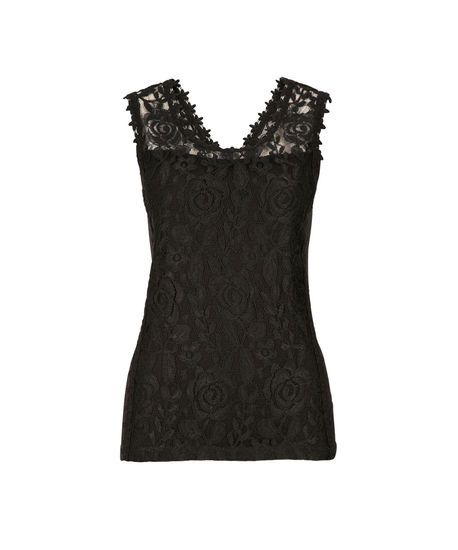 Lace Overlay Tank, Black, hi-res