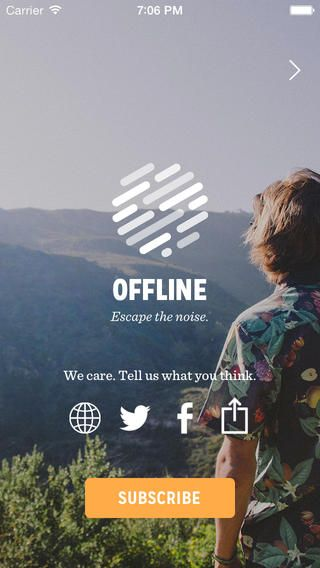 social icons onOffline Magazine app ipad iphone