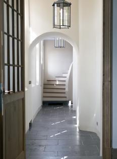 Hallway White, Wood & Black Tiles