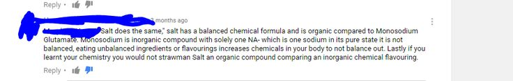 """Did you guys know table salt is a balanced organic compound? (unlike MSG with """"solely one NA-"""")"""
