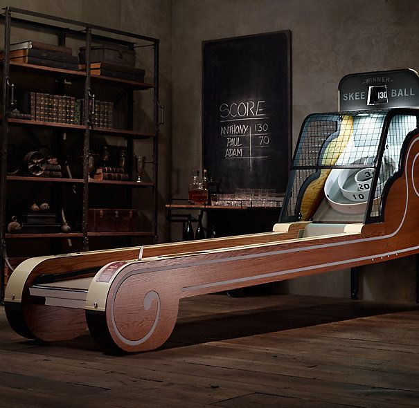 Vintage Arcade Skeeball. This would be amazing to have in a basement game room. I love Skeeball.