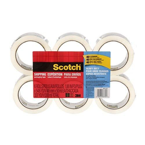 Scotch Heavy Duty Shipping Packaging Tape, 1.88 Inches x 54.6 Yards, 6-Rolls (3850-6) Brand: Scotch Color: Transparent Features:  40X stronger than acrylic tapes (in shear adhesion holding power, compared to acrylic tapes based on ASTMB) Provides excellent holding power for heavy-duty packaging and shipping Strong seal on all box types, including hard-to-stick-to 100% recycled boxes Strong, durable solvent-free hot melt adhesive seals and protects 3.1 mil thick  Publisher: 3M Office Products…