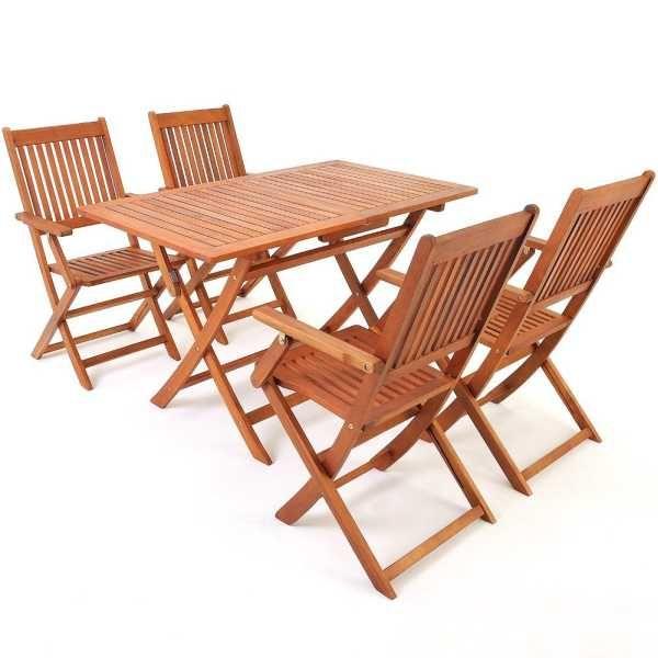 Sitzgruppe Sydney 4+1 Mit 4 Klappbaren Stühlen + Klappbarer Tisch  Akazienholz ! Gartengarnitur Garten