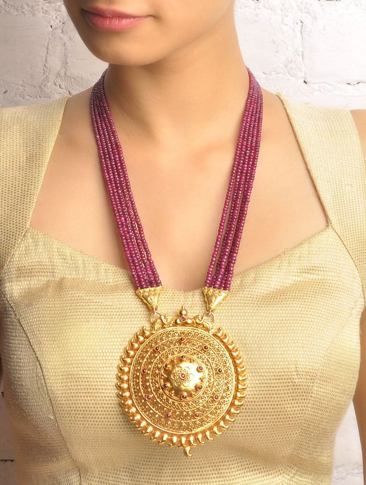 Buy Golden Wine Purple Mayooram Ruby Necklace 92.5% Sterling Silver Online at Jaypore.com