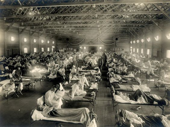 "An emergency hospital at Camp Funston, Kansas, 1918. ""Of the 12 men who slept in my squad room, 7 were ill at one time,"" a soldier recalled. (New Contributed Photographs Collection / otis historical Archives / National Museum of Health and Medicine)  Read more: Smithsonian"