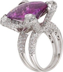 Amethyst, Diamond, White Gold Ring