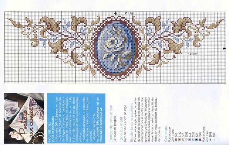 0 0 point de croix grille et couleurs de fils médaillon ancien rose