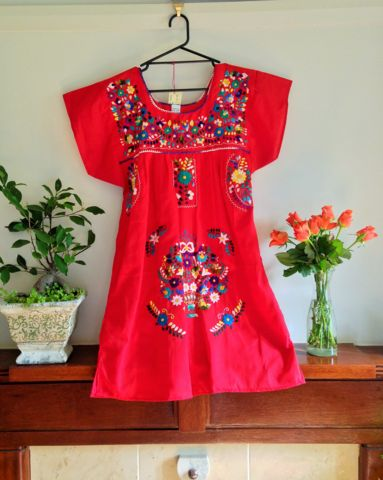 Short Mexican Puebla Dress - MEDIUM – Bohemian Tapestry