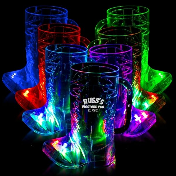 Promotional 16 oz Cowboy Boot Light-Up Cup   Customized 16 oz Cowboy Boot Light-Up Cup   Promotional Plastic Light-Up Glasses