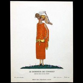 Gazette du Bon Ton - Le Donneur de Conseils, robe du soir de Paul Poiret, planche d'André Marty (n°5, 1924-1925)