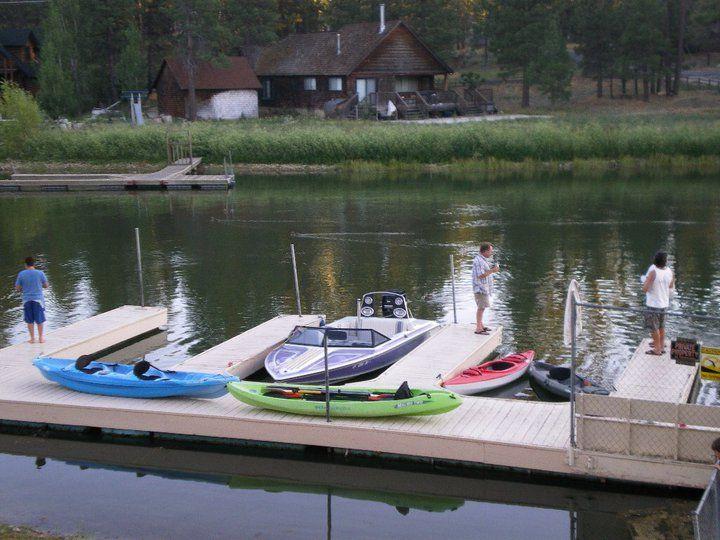 Kayaking, boating, and fishing at the free dock at Mallard Bay in Big Bear Lake!
