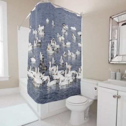 A Flock of Snow Geese at the Beach Shower Curtain - white gifts elegant diy gift ideas