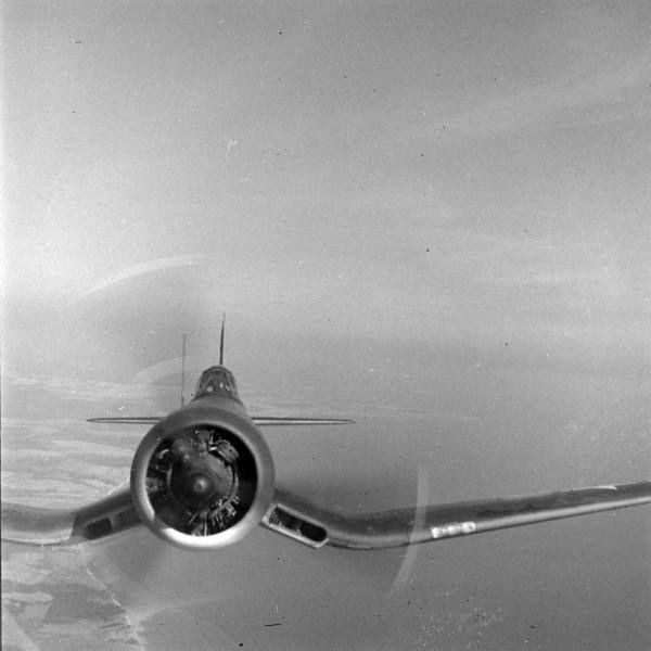 F4U Corsair - 2,000 horsepower 18 cylinder radial engine, three 50 cal. machine guns in each wing. Three-blade propeller is 13 feet 4 inches across.