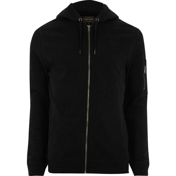 River Island Black casual zip front hoodie ($32) ❤ liked on Polyvore featuring men's fashion, men's clothing, men's hoodies, black, hoodies, mens cotton hoodies, mens tall hoodies, mens sweatshirts and hoodies and mens hoodies