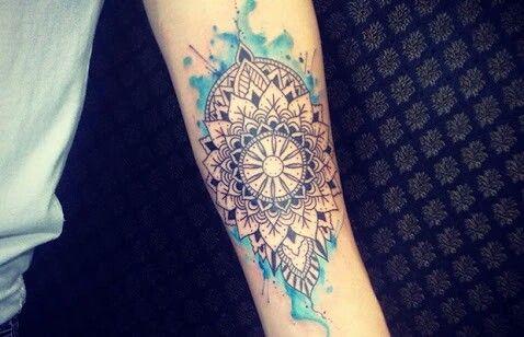 Mandala tattoo with blue watercolor, watercolor tattoo, mandala tattoo