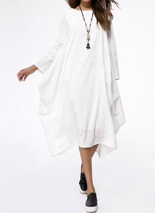 Linho Reto Manga comprida Longo Vintage Vestidos de (1047018) @ floryday.com