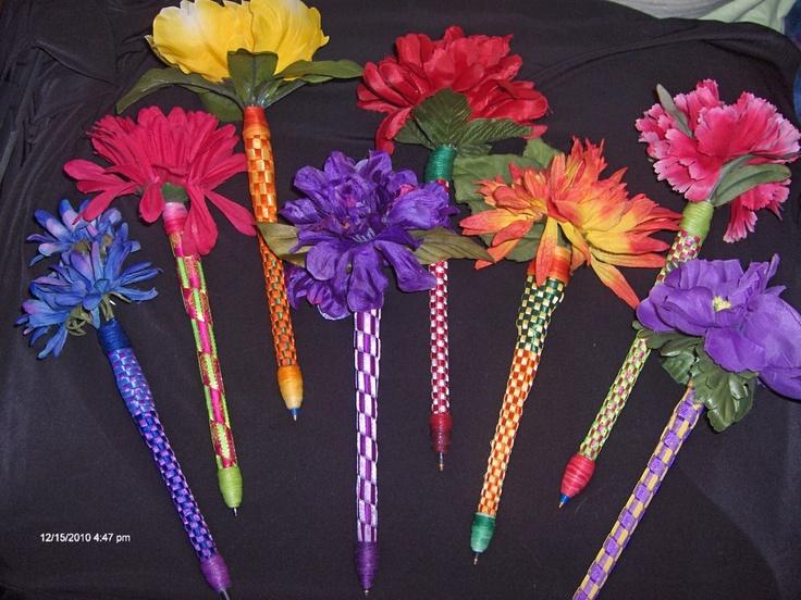 Floral ribbon pens flower pens diy flower pinterest for Make flower craft ideas