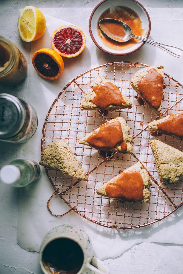 Spelt Coconut Cream Scones with Blood Orange Honey Rose Glaze - Will Frolic for Food