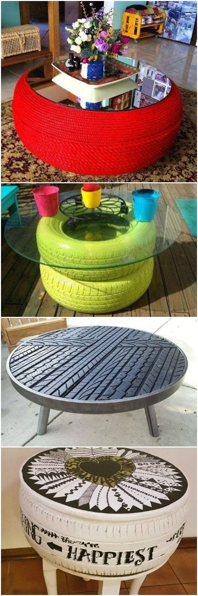 10 Tire Table Amazing Ideas - DIY Tire Tables - 1 – Huge red table made from a truck tire and rope 2 – Coffee table out of a car tire 3 – Sweet bike wheel table 4 – Old car tire upcycled into a retro coffee table 5 – Colored table made from 2 car tires and glass 6 – Table from old bike rims 7 –...