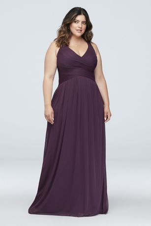 9ef4ebc941 Mesh Long Bridesmaid Dress with Crisscross Back