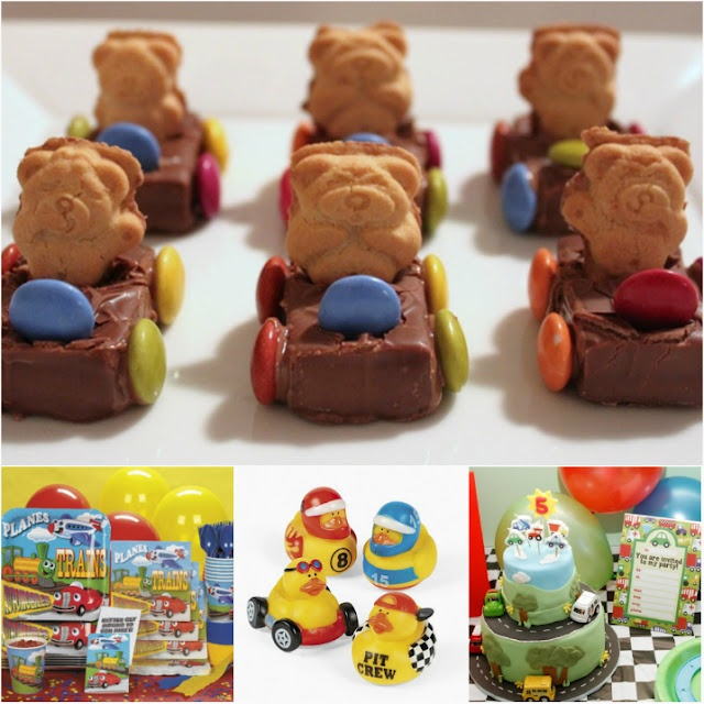 race car teddy bears These are adorable! This candy snack is especially fitting for a boy's birthday party or any car themed party – made with Teddy Grahams, Milky Way bars, chocolate melts, and M's or Skittles.