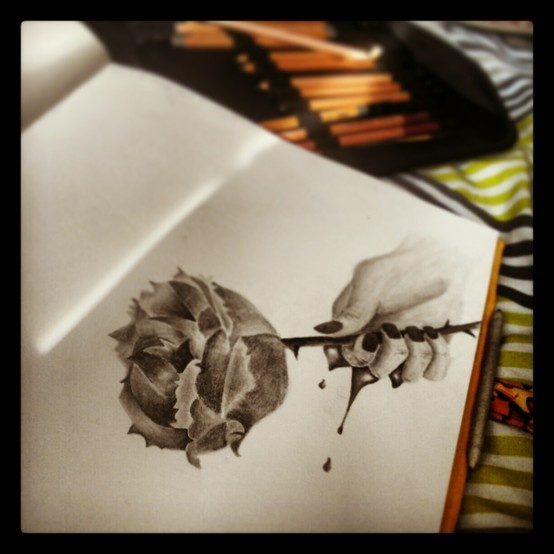 I drew this from a magazine I own. I thought it was beautiful.  #Art #Pencil #Rose #Hand