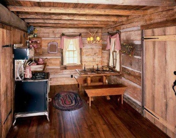 Small cabin kitchen cabins pinterest style cabin and small cabins Log home kitchen design ideas