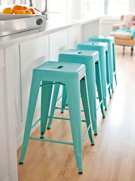Be. Still. My. Heart. I LOVE THIS SIMPLE DESIGN TOO. THEY ARE SOLD AS FAR AS I HAVE SEEN IN PLAIN, OR TREATED METAL. ARM CHAIRS TOO, SAME STYLE WITH STOOLS SEAT HEIGHT...ALL VERY REASONABLE COST...THEN CAN PAINT ANY COLOR U WANT WITH RUSTOLEUM!