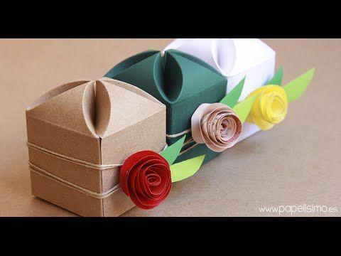 Cómo hacer Cajas de Regalo, Caja de Regalo con Rosas de Papel - YouTube