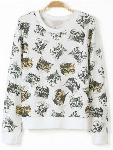 White Long Sleeve Cats Print Loose Sweatshirt - Fashion Clothing, Latest Street Fashion At Abaday.com