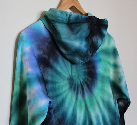 American Apparel Tie Dye Hoodie Black/Blue/Green by TyreDyes