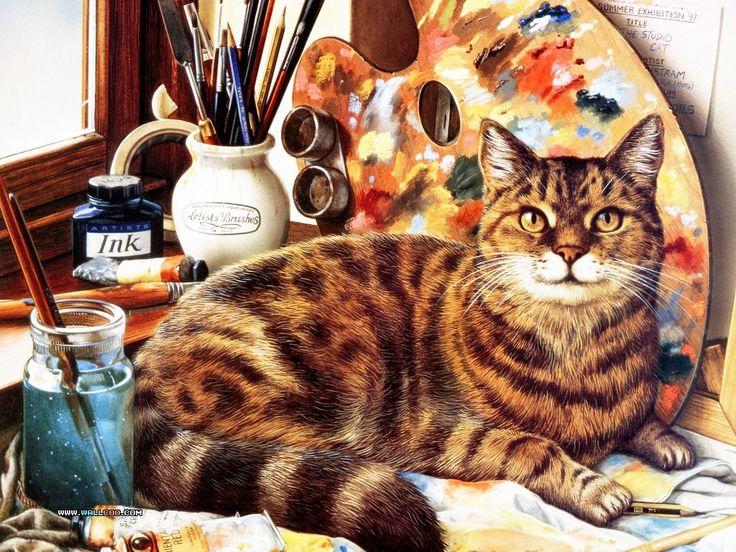 artist's companion: Cat Art, Cats, Catart, Geoff Tristram, Cat Paintings, Geoffrey Tristram, Artists Cat, Jigsaw Puzzles, Cat Lady