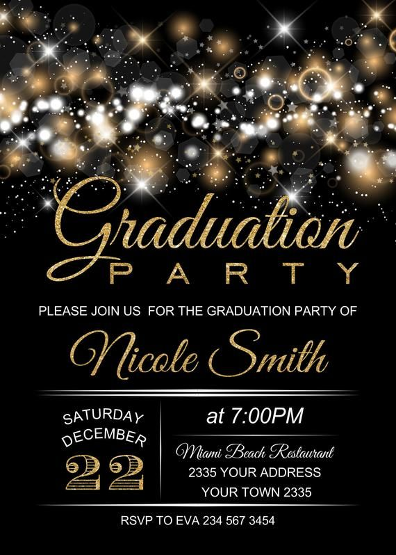 Graduation Party Invitation Black Background Graduation Invitation Glitter Graduation Invitation Black White Gold Graduation Invitation Graduation Party Graduation Party Invitations Graduation Party Planning