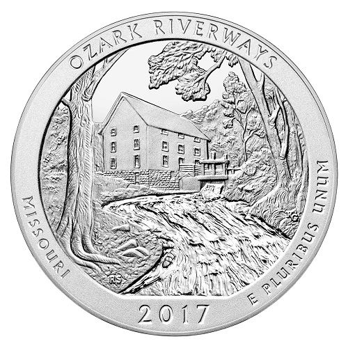 United States Mint will be releasing The Ozark National Scenic Riverways Silver Coin On July 11th 2017. This coin is the third coin of the 2017 5oz silver bullion coin (total 5 coins in 2017) in America the Beautiful (ATB) Quarter Series and the 38th coin in the entire ATB series. Minted from 0.999 pure Silver AND weighing 5 troy ounces, these coins are in BU (Brilliant Uncirculated) condition.