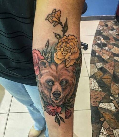 Bear and Floral Tattoo Design