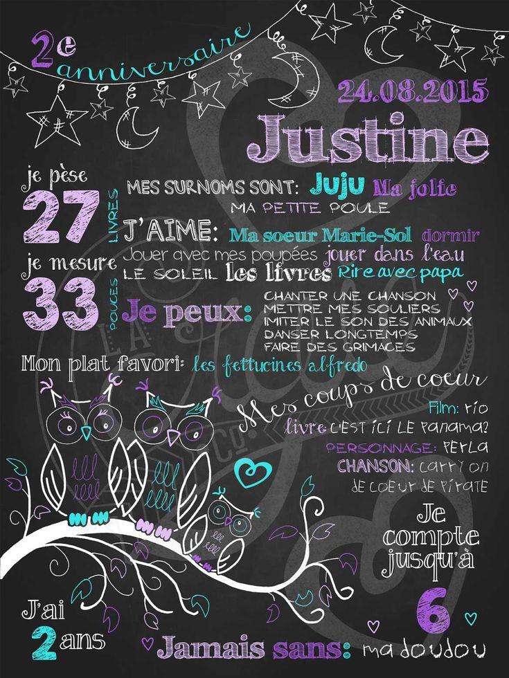 Affiche personnalisée anniversaire 2 à 5 ans Veille de hiboux (lilas) | 28,00$ #chalkboard #lacraieco